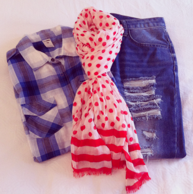 Plaid Shirt & Boyfriend Jean with Spots and Stripes Scarf.