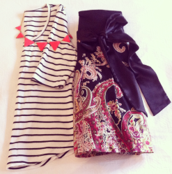 Simple Stripes with Paisley Skirt and Statement necklace. Keeping it fun and feminine!