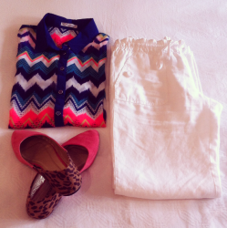 Crisp White Linen Pant with Aztec Sheer Shirt & Coloured shoes featuring some cheeky Animal Print!