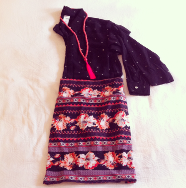 Sheer Black Dot Shirt with Aztec Print Tube Skirt and Tassel Necklace