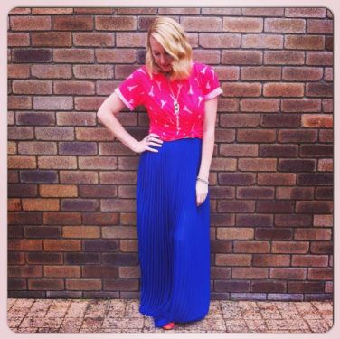 Best and Less pleated skirt made super casual with a K-mart tee