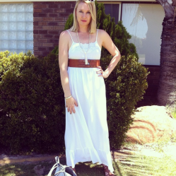 White maxi from Target dressed up with a tan belt and tan sandals.