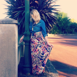 One of my favourite Valley Girl maxi's given a different look by adding a denim shirt from K-mart